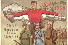 Pohlednice symbolizující svobodné Československo.